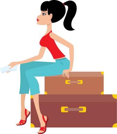 caucasians: Donna si siede su una valigia e mantiene il biglietto Vettoriali