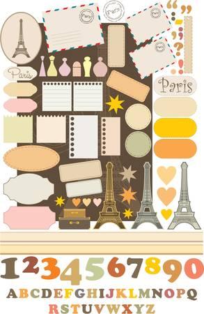 french label: Los elementos del libro de recuerdos con Tour d'Eiffel.