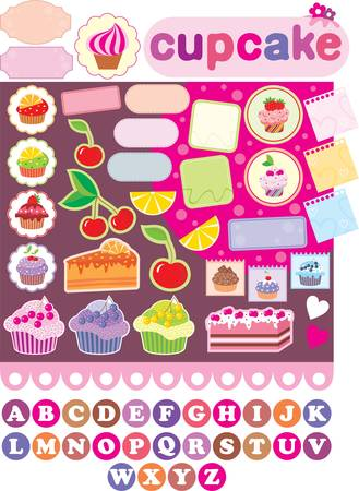 Scrapbook elements with cupcakes Vector