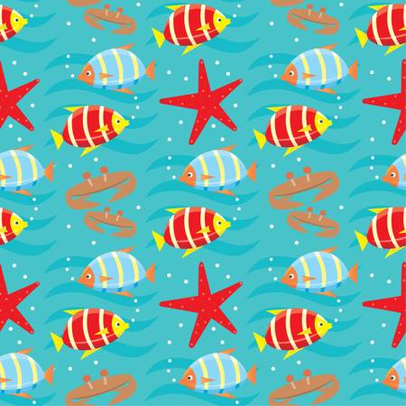 Seamless fishes pattern. Vector