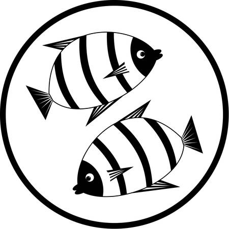 outline drawing of fish: Emblem with fishes.