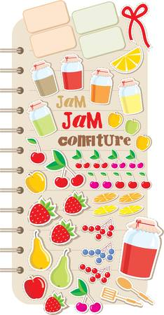 Scrapbook elements with fruit and jam.
