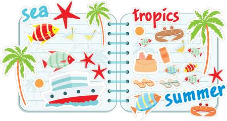 Scrapbook elements with tropics Stock Vector - 12189947