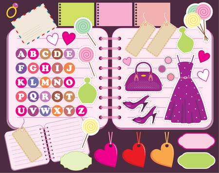 Scrapbook elements with letters and clothes. Vector