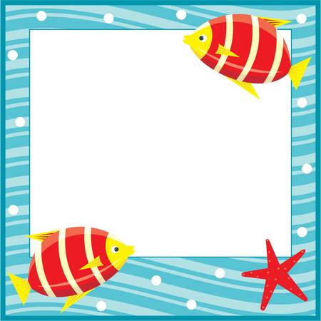 Framework for photos. Sea theme. Fishes. Vector
