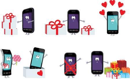 enamorados caricatura: Smartphones en un regalo.