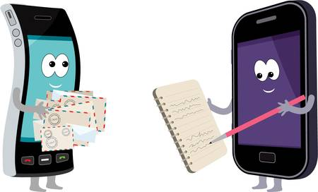 news letter: Two smart phones with envelopes and a notebook.