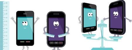mobile cartoon: Comparative characteristics of phones. Illustration