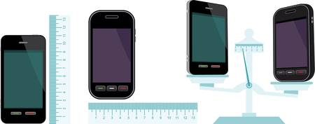 grams: Comparative characteristics of phones. Illustration