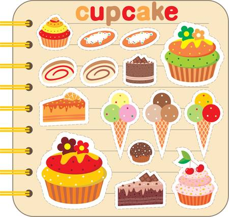 Scrapbook elements with cupcakes. Vector