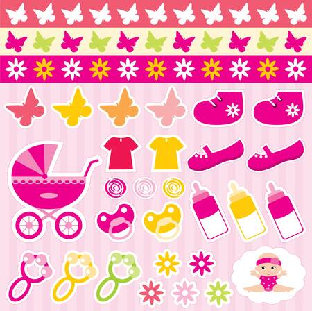 Scrapbook elements with children Stock Vector - 12189963
