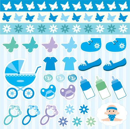 baby scrapbook: Scrapbook elements with childrens accessories. Illustration