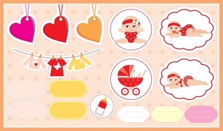 Scrapbook elements with childrens accessories. Vector