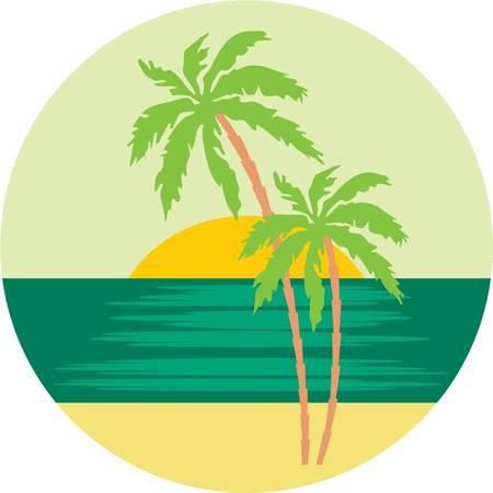 logo voyage: Plage tropicale avec palmiers. Illustration