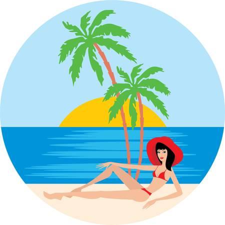 bikini model: Tropical beach with palm trees and woman