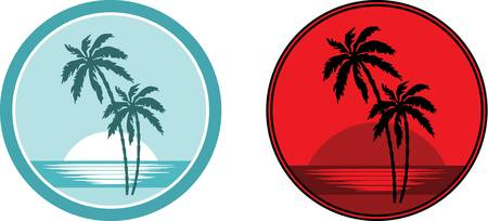 Tropical beach with palm trees. Emblem. Vector