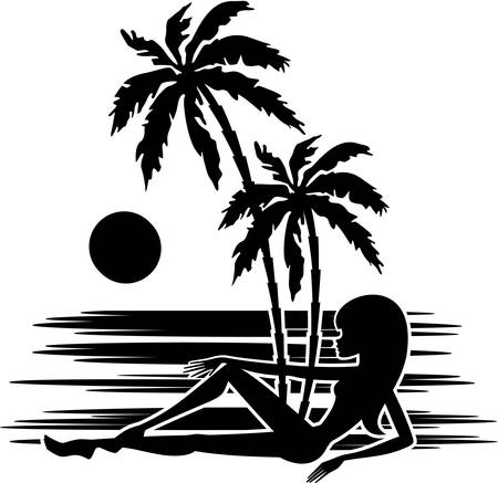 caribbean beach: Tropics. A palm trees and woman silhouette on a white background