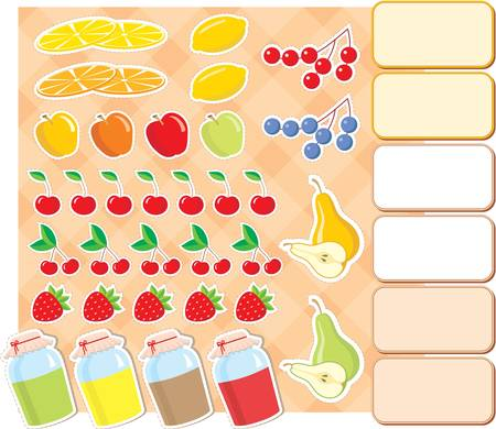 confiture: Scrapbook elements with fruits and jam. Illustration