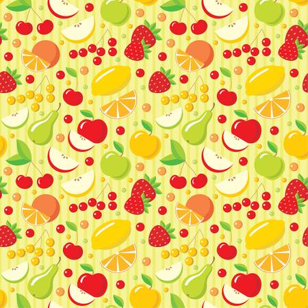 berries fruit: Seamless fruits pattern