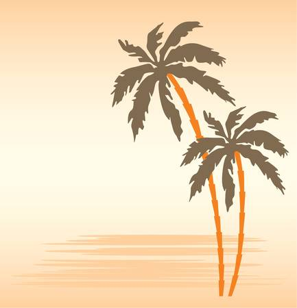tropics: Tropical beach with palm trees Illustration