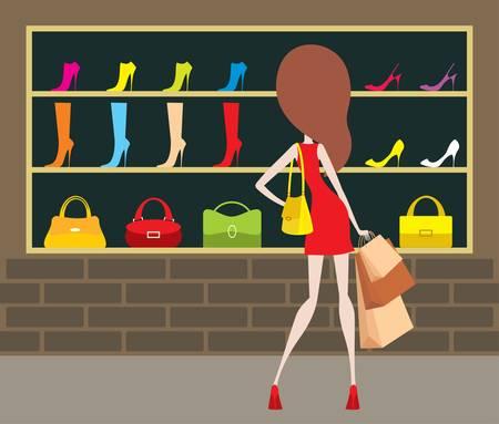 tienda zapatos: Mujer en una tienda al frente.