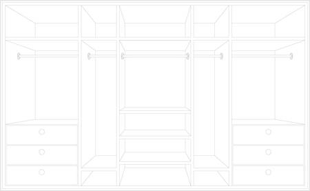Drawing of a wardrobe. Draft of furniture Stock Vector - 12480877