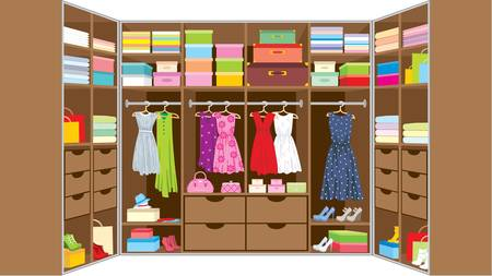 shirts on hangers: Wardrobe room  Furniture Illustration