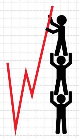 Symbolische afbeelding van de opheffing van de economische indicatoren
