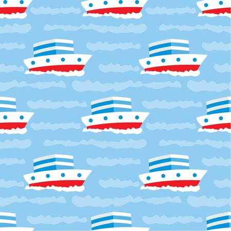 Seamless ships pattern Vector