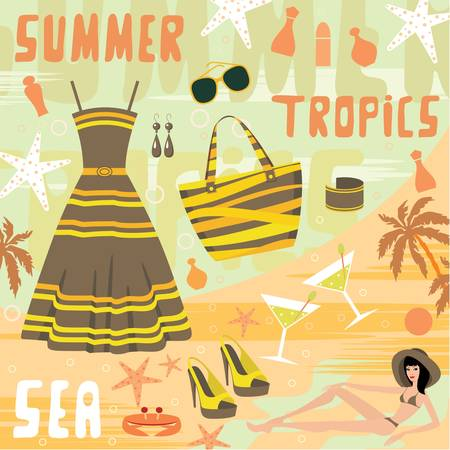 Fashion set summer clothes Vector