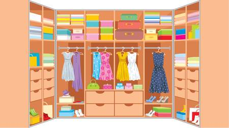 wooden shoes: Wardrobe room  Furniture Illustration
