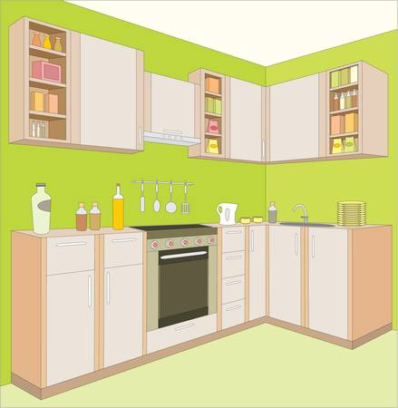 Les meubles de cuisine. Intérieur.