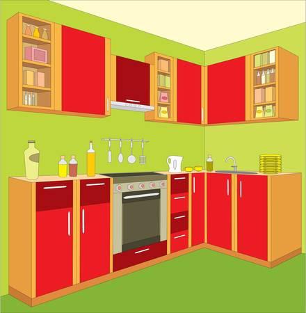 Kitchen furniture. Interior. Vector
