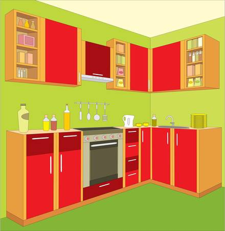 Kitchen furniture. Interior. Stock Vector - 12922513