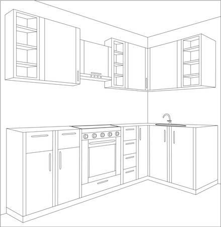 perspectiva lineal: Proyecto de la cocina Vectores