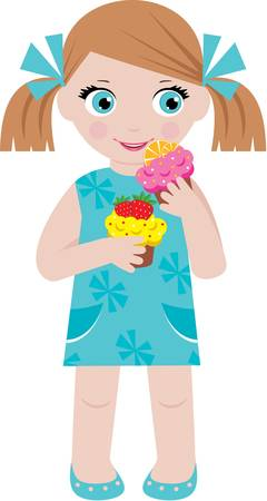 Little girl with cupcakes Vector
