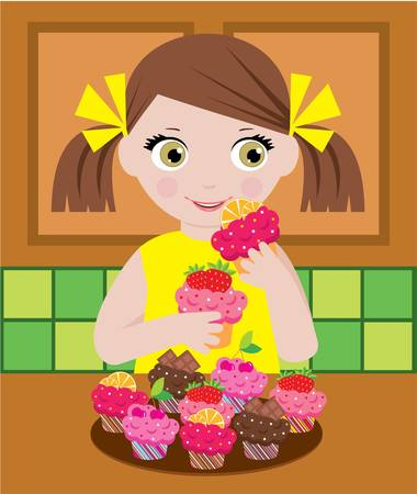 small girl: Little girl in kitchen with cupcakes Illustration