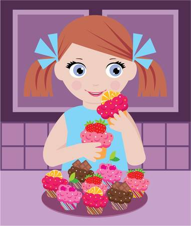 Little girl in kitchen with cupcakes Stock Vector - 12922520