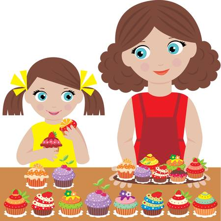 Mother with the daughter bake cupcakes Stock Vector - 12922534