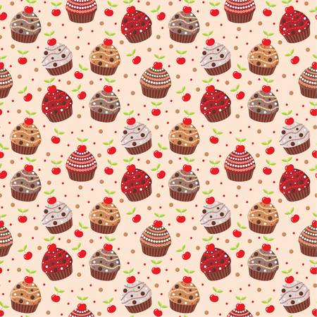 muffins: Seamless cupcake pattern Illustration