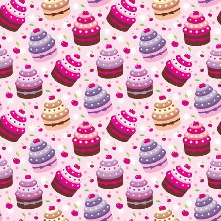 whipped: Seamless cupcake pattern Illustration
