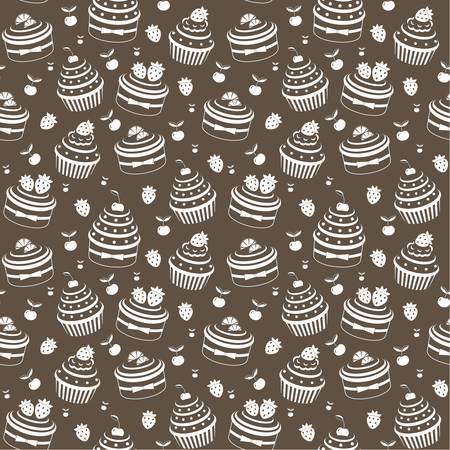 vanilla cupcake: Seamless cupcake pattern Illustration