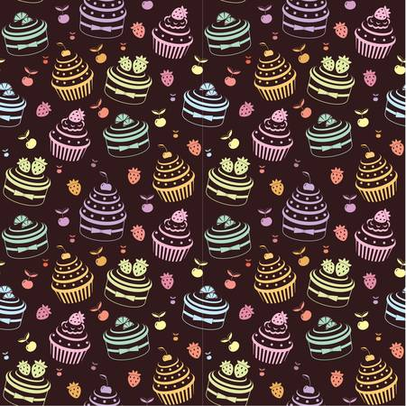 Seamless cupcake pattern Stock Vector - 12922537