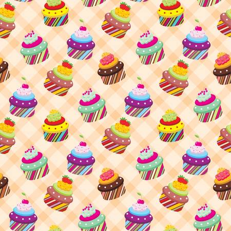 frosting: Seamless cupcake pattern Illustration