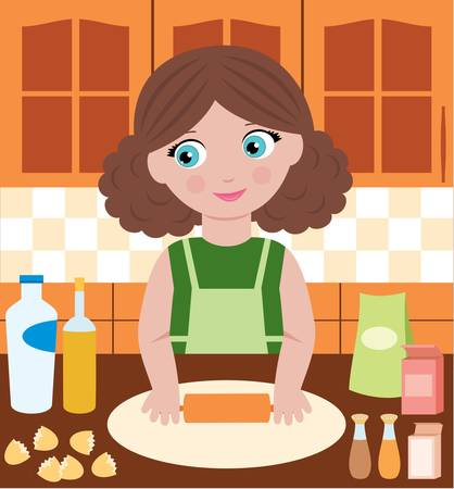 one girl only: Woman prepares dough