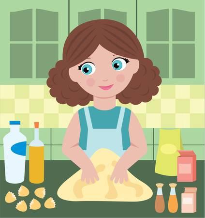 kneading: Woman prepares dough