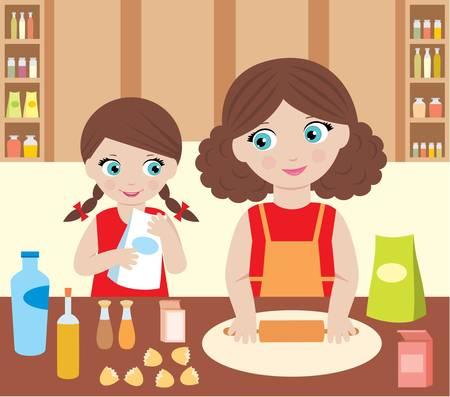 Anya és lánya főzni tésztát Illusztráció