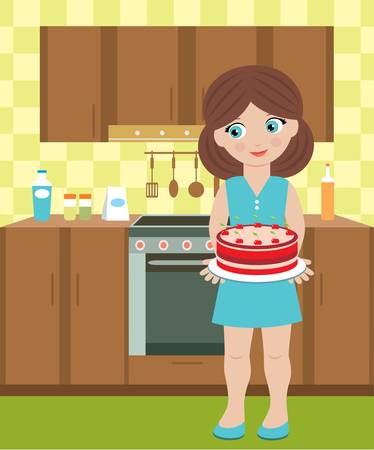 Young woman holds a pie Vector