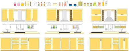 Sets of kitchen furniture Stock Vector - 13238923