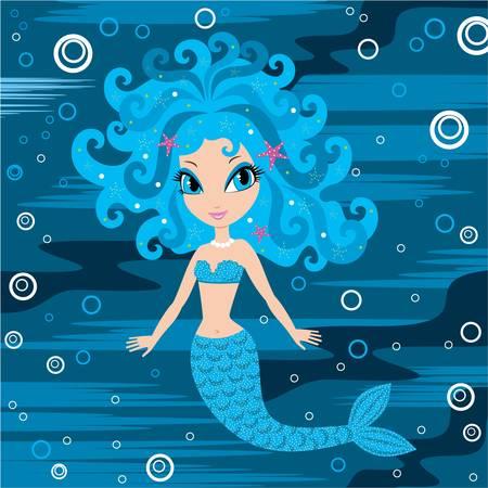 cartoon hadas: Sirena de dibujos animados Vectores